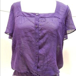East 5th Sheer Button Down Blouse Purple SIZE L